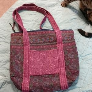 quilted tote purple, greens